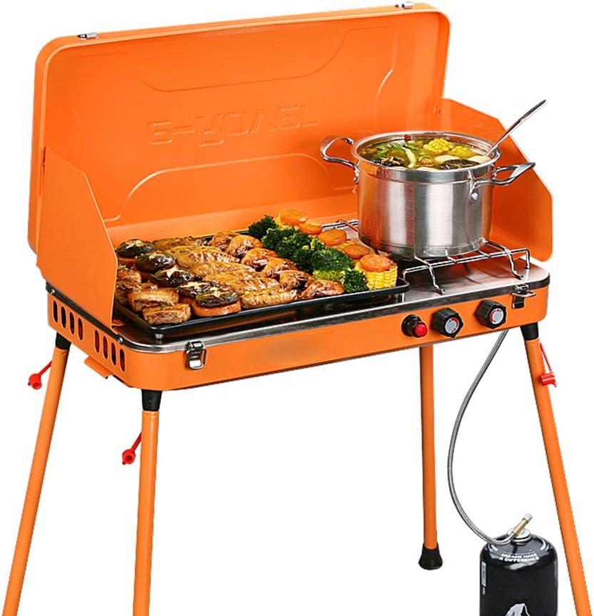 Parrilla de gas para acampar de doble quemador portátil al aire libre, estufa - con soporte de bandeja de barbacoa para parabrisas - Adecuado para campamento Picnic BBQ Jardín Patio trasero y fiesta