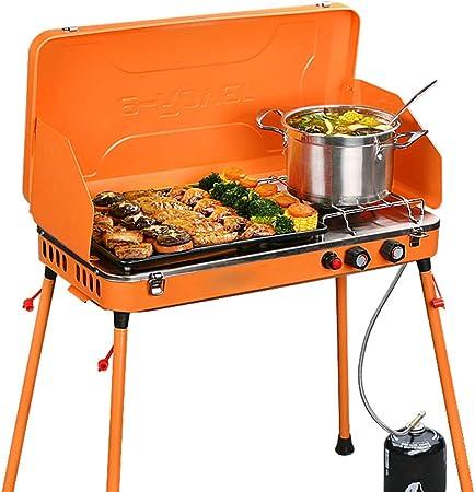 Parrilla de gas para acampar de doble quemador portátil al ...