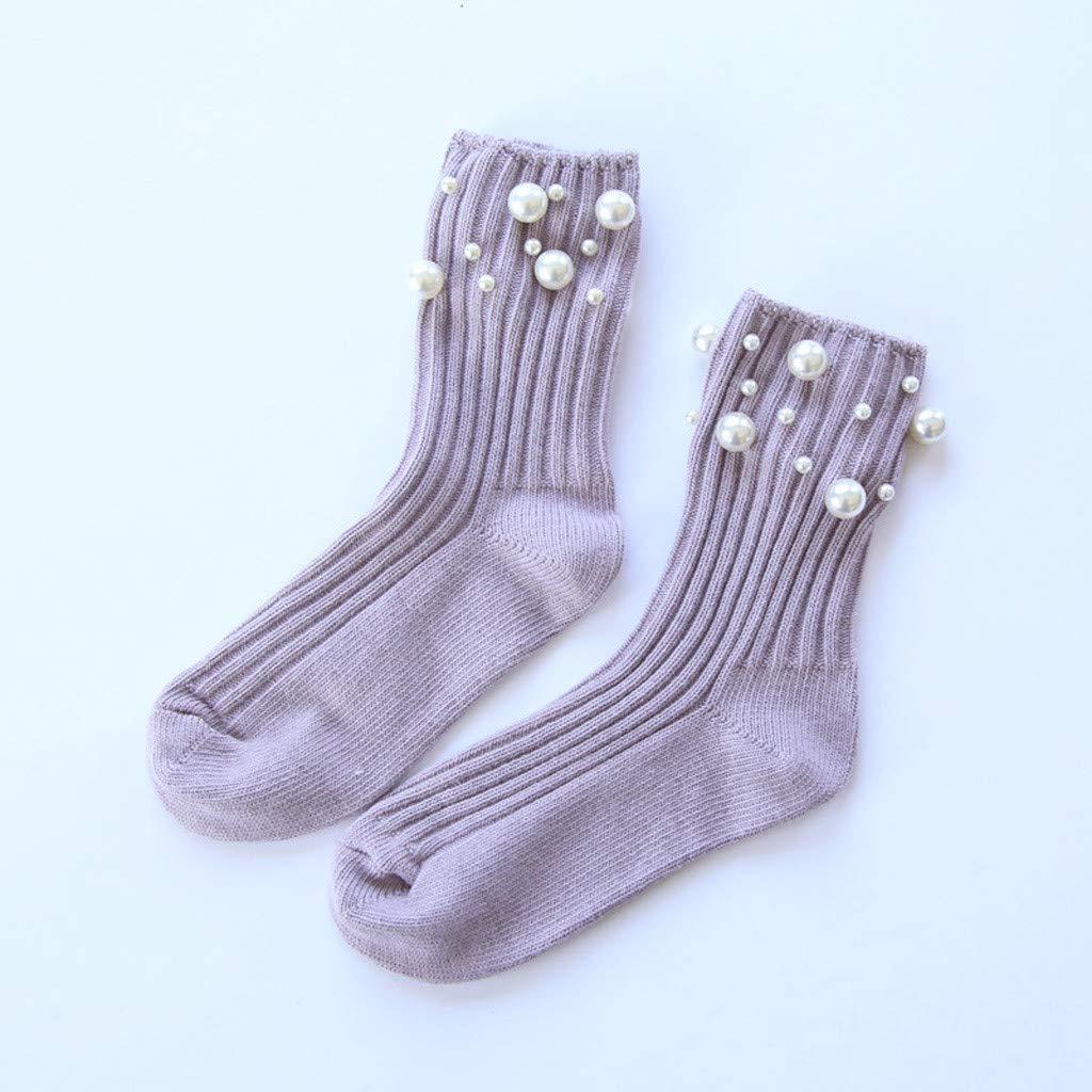 Calcetines tobilleros de algodón para mujer, con perlas, elásticos ...