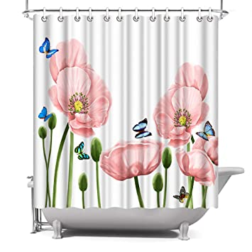 Shower Curtain With 12 Hooks Fashion Butterfly Trees Fabric Waterproof Bathroom