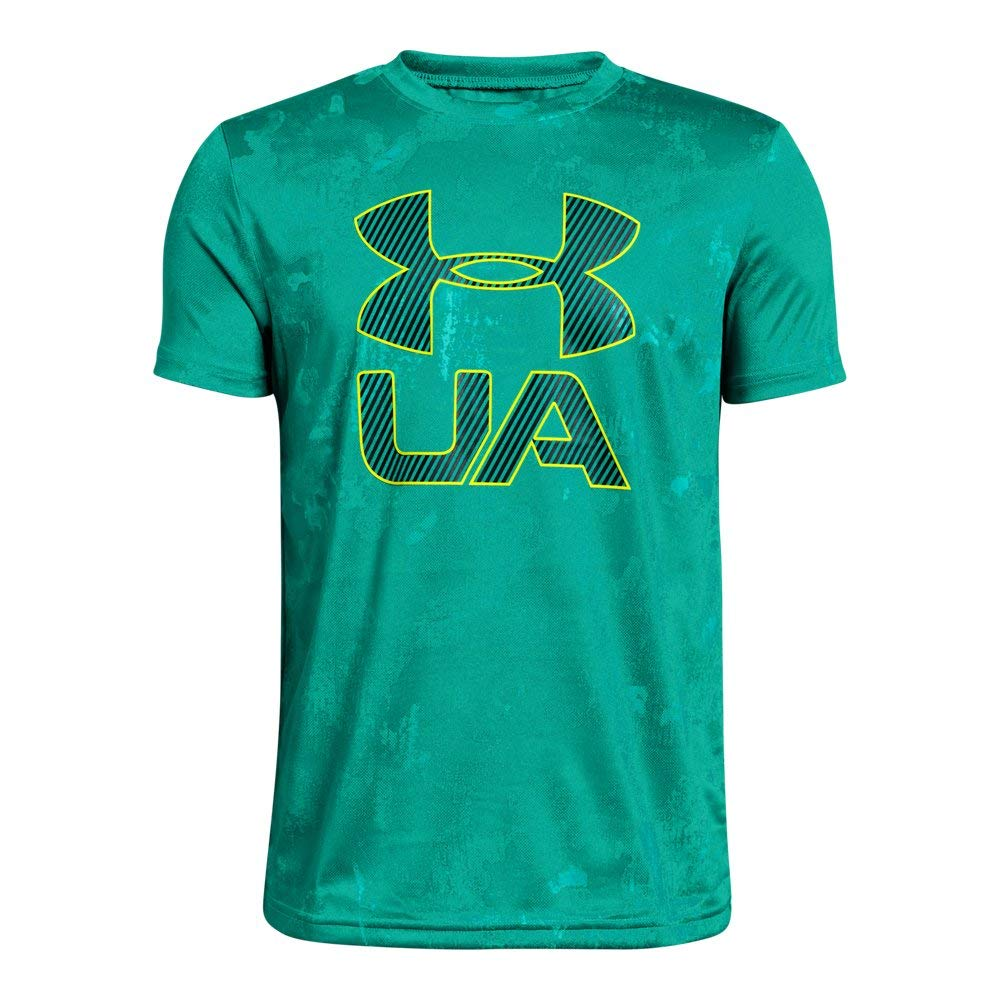 Under Armour Boys' Printed Crossfade T-Shirt, Green Malachite (349)/High-Vis Yellow, Youth X-Small by Under Armour