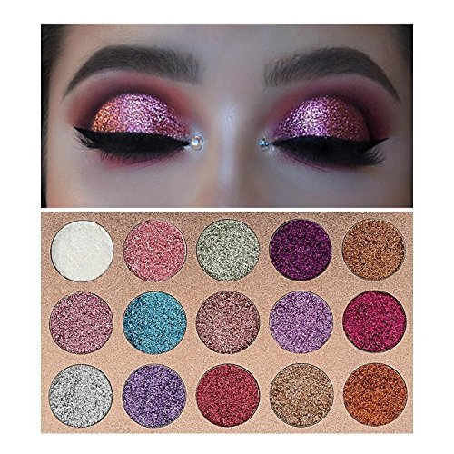 Beauty Glzaed 15 Colors Glitter Make-up Powder Metallic Shimmer Eye Shadow Palette Highly Pigmented Mineral Cosmetic Makeup Eyeshadow ()