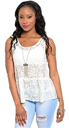 a6e19e3fa51422 Womens Floral Sheer Lace Peplum Boho Tank Top Festival White (SMALL)