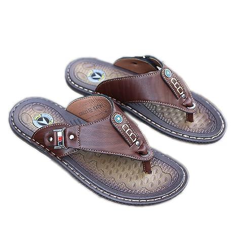bbd365ca5eeb New Summer Beach Flip Flops Men Pu Leather Slippers Male Flats Sandals  Outdoor Beach Shoes Men
