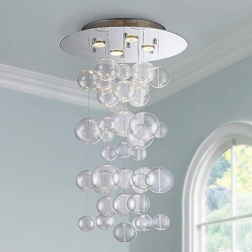 Saint Mossi Modern Glass Raindrop Chandelier Lighting Flush Mount LED Ceiling Light Fixture Pendant Lamp