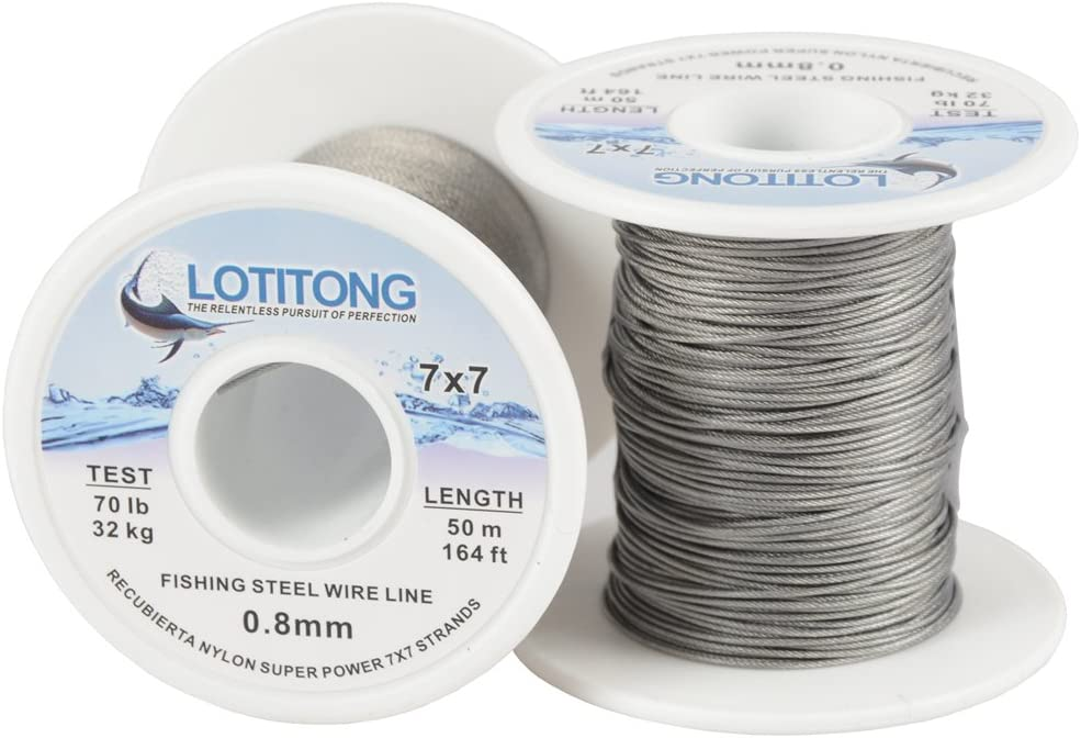5Pcs Stainless Steel Coating Fishing Wire Leader Jigging Line Trace 7 Strands
