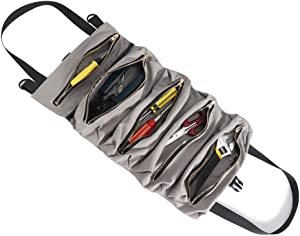 Ultrafun Tool Roll Bag Pouch Foldable Hanging Tool Orgaziner Bag Includes 5 Zippered Pockets for for Electrician and Garden with 5pcs Plastic Label Tags (Grey)