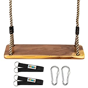 JOYMOR Wooden Tree Swing Seat for Kids and Adults, Wood Handing Swing with Adjustable Rope from 6.6ft-11.8ft for Indoor Outdoor Play