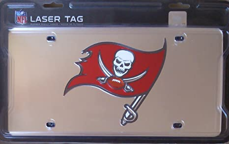 9d230e42 Tampa Bay Buccaneers Bucs NEWLOGO Silver Deluxe Laser License Plate Tag  Football