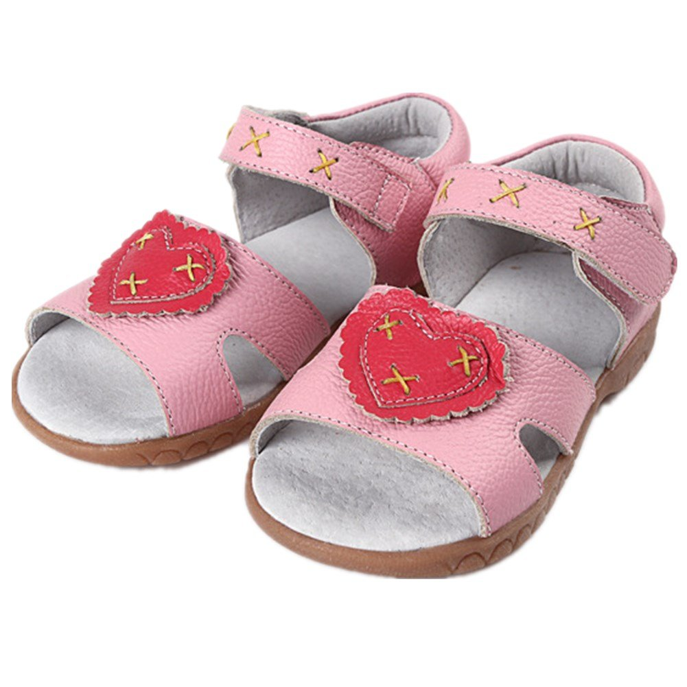 Bumud Baby Girls Heart Genuine Leather Open Toe Sandals Flat Shoe (Toddler/Little Kid) (9 M US Toddler, Pink)
