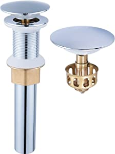 Bathroom Sink Drain, Vessel Sink Pop Up Drain With Detachable Basket Stopper,Anti-Explosion And Anti-Clogging Drain Strainer, Sink Drain Assembly Without Overflow Polished Chrome, REGALMIX RWF082A