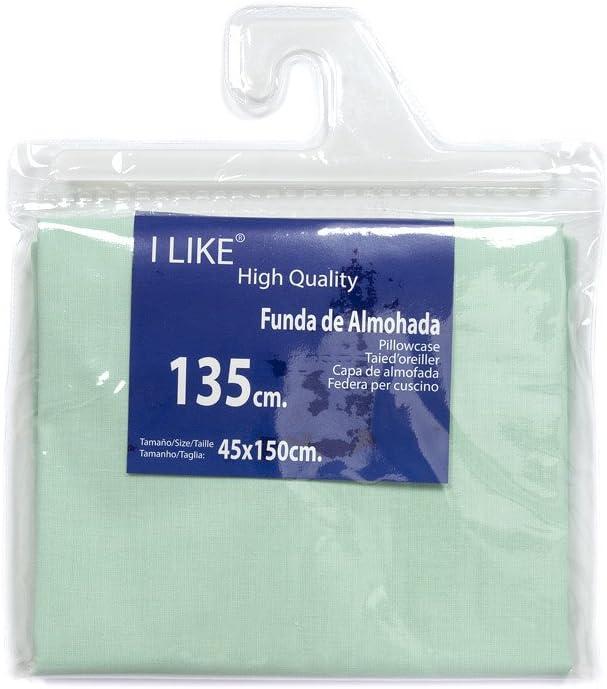 I LIKE® Funda DE Almohada Verde Agua 100% ALGODÓN Cama 135 (45 X 150 cm)