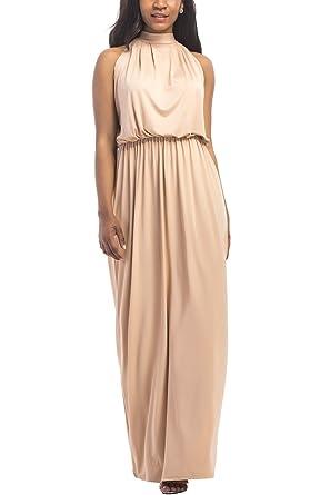 WIWIQS Women\'s Halter Loose A-line Casual Maxi Dress Plus Size Party Club  Long Dresses