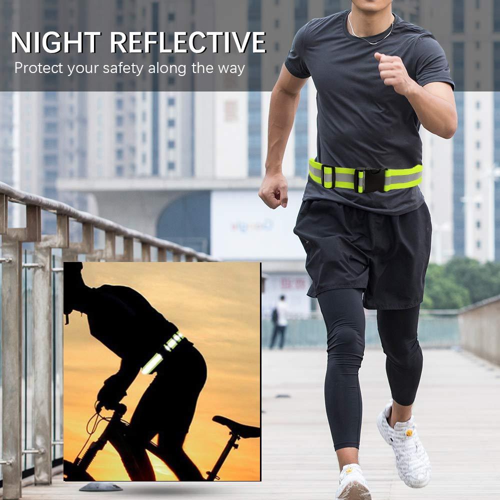GFEU Reflective Running Belt Elastic Waitband for Safety Running Jogging Walking Biking Cycling Hi Vis Belt