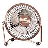D-FantiX Small USB Desk Fan Quiet, 4 Inch Antique Metal Desktop Fan USB Powered Mini Personal Fan for Home, Office, Bedroom (Bronze)