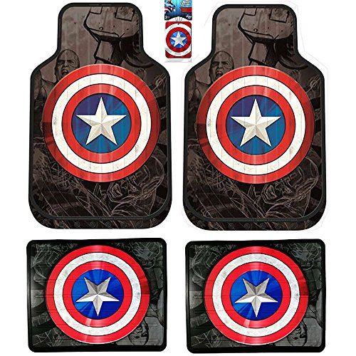 Plasticolor Captain America Marvel Comics Front and Rear Floor Mats with Bonus Air Freshener for your Car Truck or SUV