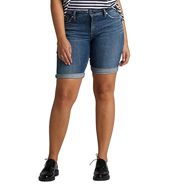 5417b0f66d Silver Jeans Co. Women's Plus Size Elyse Mid-Rise Curvy Relaxed Bermuda  Short,
