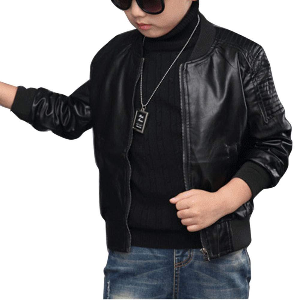 Yonglan Ragazzi Addensare Giacca Di Pelle Bambini Colletto Motorrad Pelle Cappotto