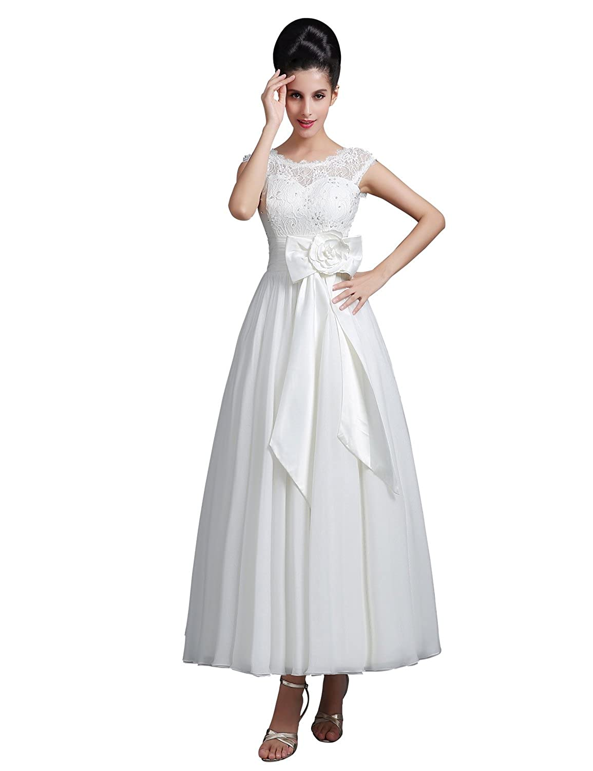 Clearbridal Women's A-Line White Wedding Dress Lace Chiffon Ankle Length Bridal Gowns with Beaded Hand Made Flower SD267