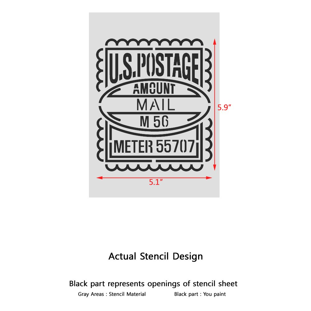 J BOUTIQUE STENCILS US Postage Mail Stamp Stencils for Crafting Canvas DIY Wall decor