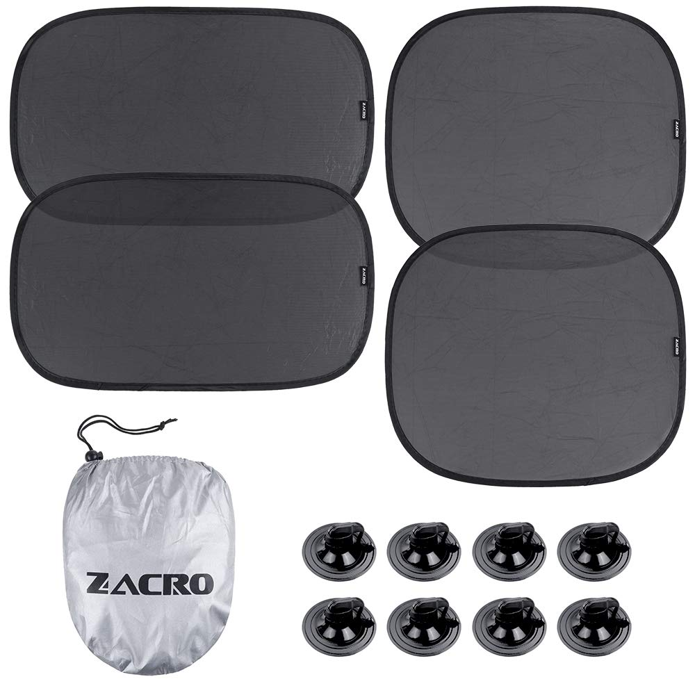 Zacro Car Window Shade(4 Packs) - Car Sunshade Protector for Side and Rear Window - Blocks Over 99% of Harmful UV Ray, Easy to Install, Protect Your Kids in The Back seat from Sun Glare and Heat by Zacro