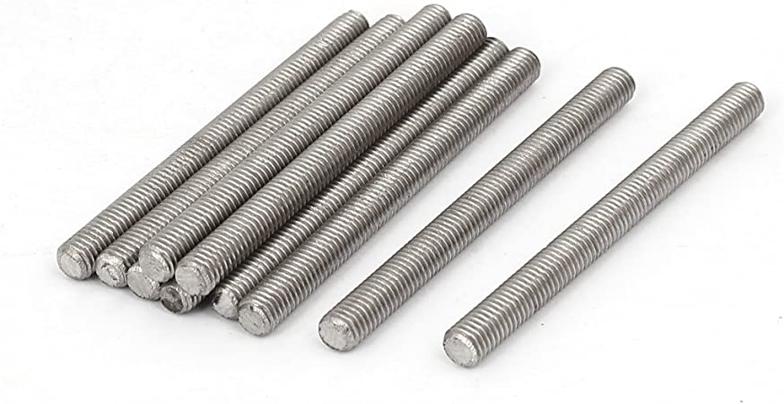uxcell Metric M8 x 60mm 304 Stainless Steel Fully Threaded Rods Fasteners 10 Pcs