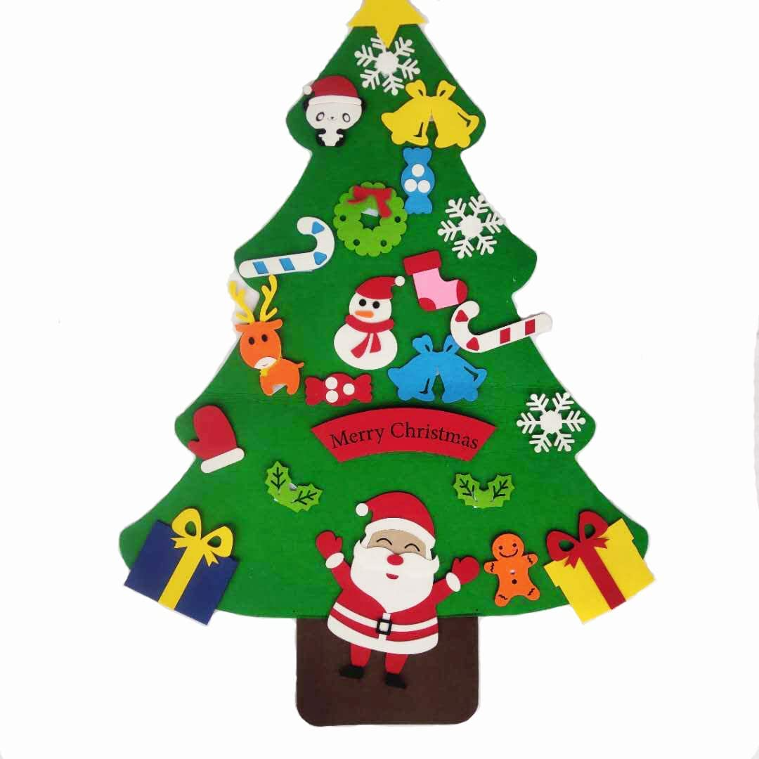 Cofe-BY Felt Christmas Tree for Toddlers, Felt Christmas Tree for Kids Wall with Ornaments Home Wall Hanging Party Christmas Decorations (Type 2)