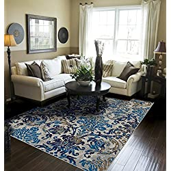 Contemporary Distressed Area Rugs for Living Room 8x10 Blue Large Rugs For Dining Room 8x11 Clearance Under 100