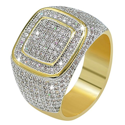 JINAO18K Gold Custer ICED Out Lab Simulated Diamond Band Micropave Mens Bling Ring (11) (Mens Costume Rings Gold)