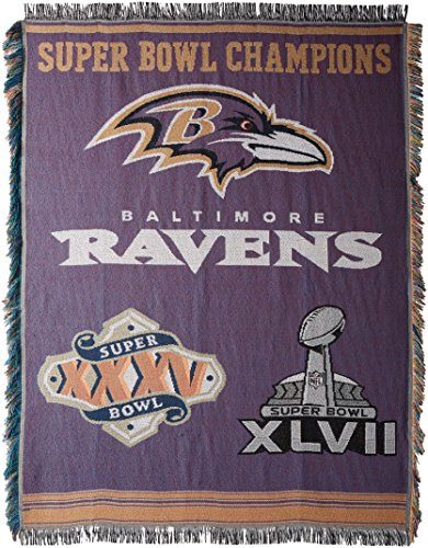 (Officially Licensed NFL Baltimore Ravens Commemorative Woven Tapestry Throw Blanket, 48