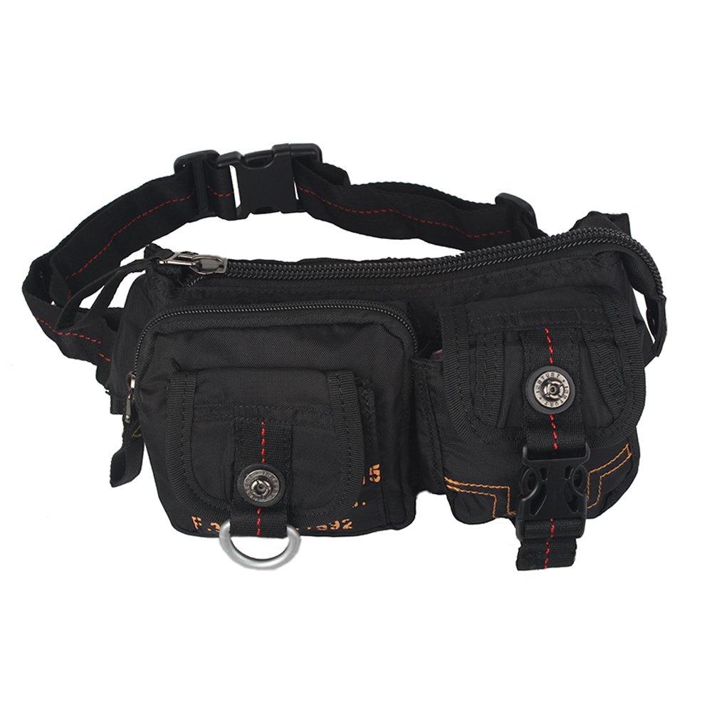 Kawei Knight Nylon Sling Bag Messenger Backpack Fanny Pack Black