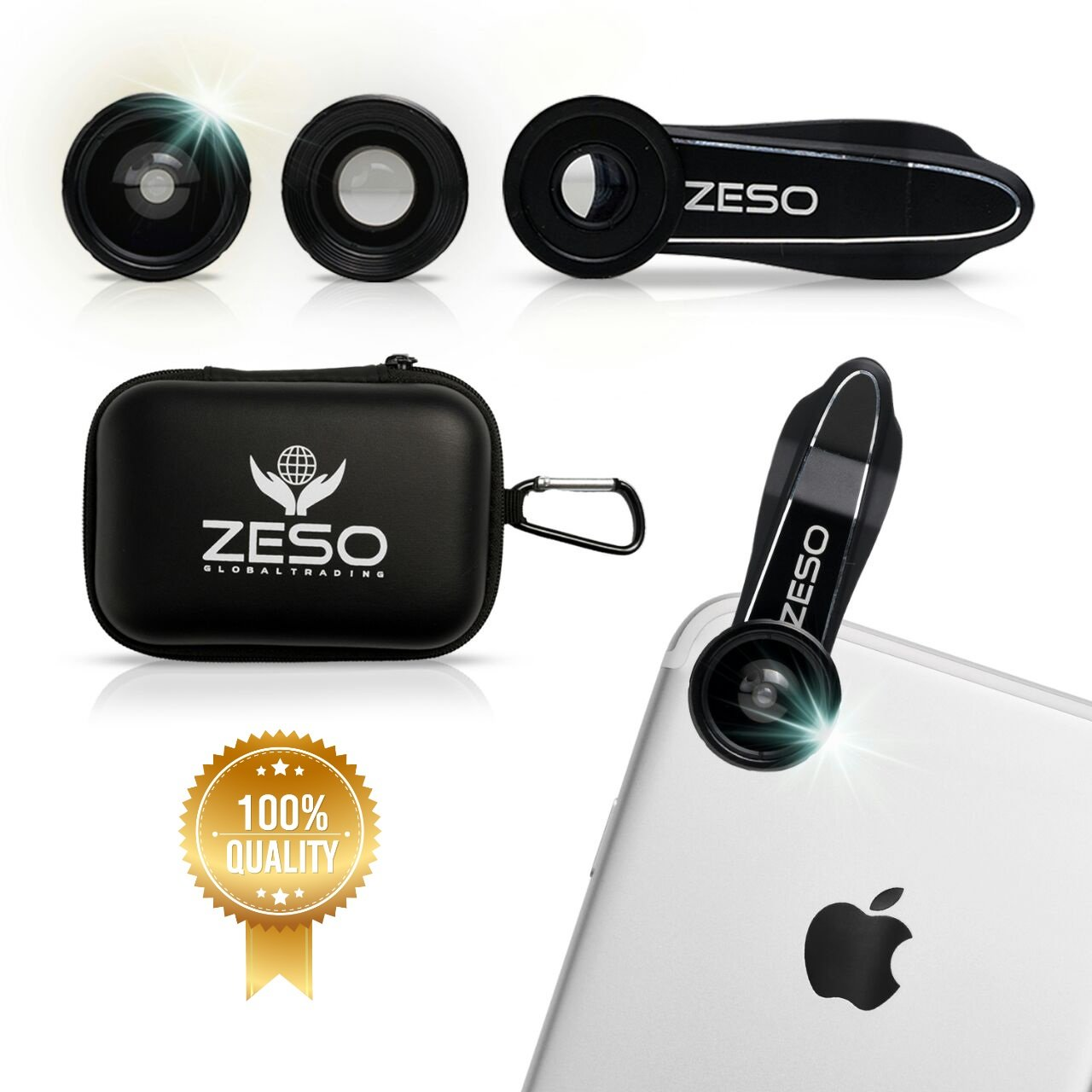 phone Lens 3 In 1 Camera Lens Kit by Zeso | Professional 230° Fisheye, Macro & Wide Angle Phone Lenses | For iPhone, Samsung Galaxy, Android, iPads, Tablets | Hard Storage Case & Universal Phone Clip by Zeso lens