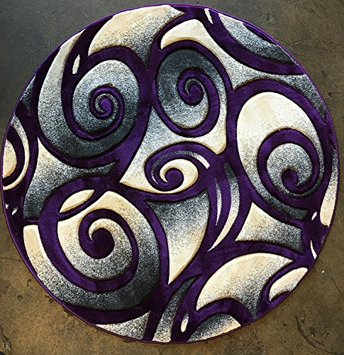 Modern Round 400,00 Point Abstract Area Rug Purple & Grey Design 341 Contempo (5 feet 3 inches X5 feet 3 inches Round) (Machine Contempo Made Rug)