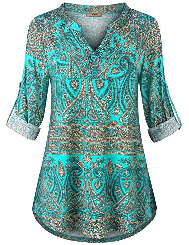 Miusey Plus Size Womens Tops,Casual Shirts Henley Neck Cuffed Sleeve Paisley Printed Blouse Ladies Elegant Dressy Tunic Flowy Tops Breathable Lightweight Pretty Flower Green 2XL