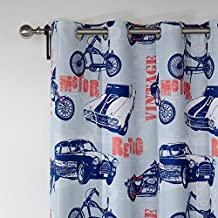 """(Set of 2 panels) 25 Sizes Available 2*(50""""W x 102""""L) Tab Top Print Retro POP Style CARS Pattern Blackout Lining Window Treatment Draperies & Curtains Panels"""