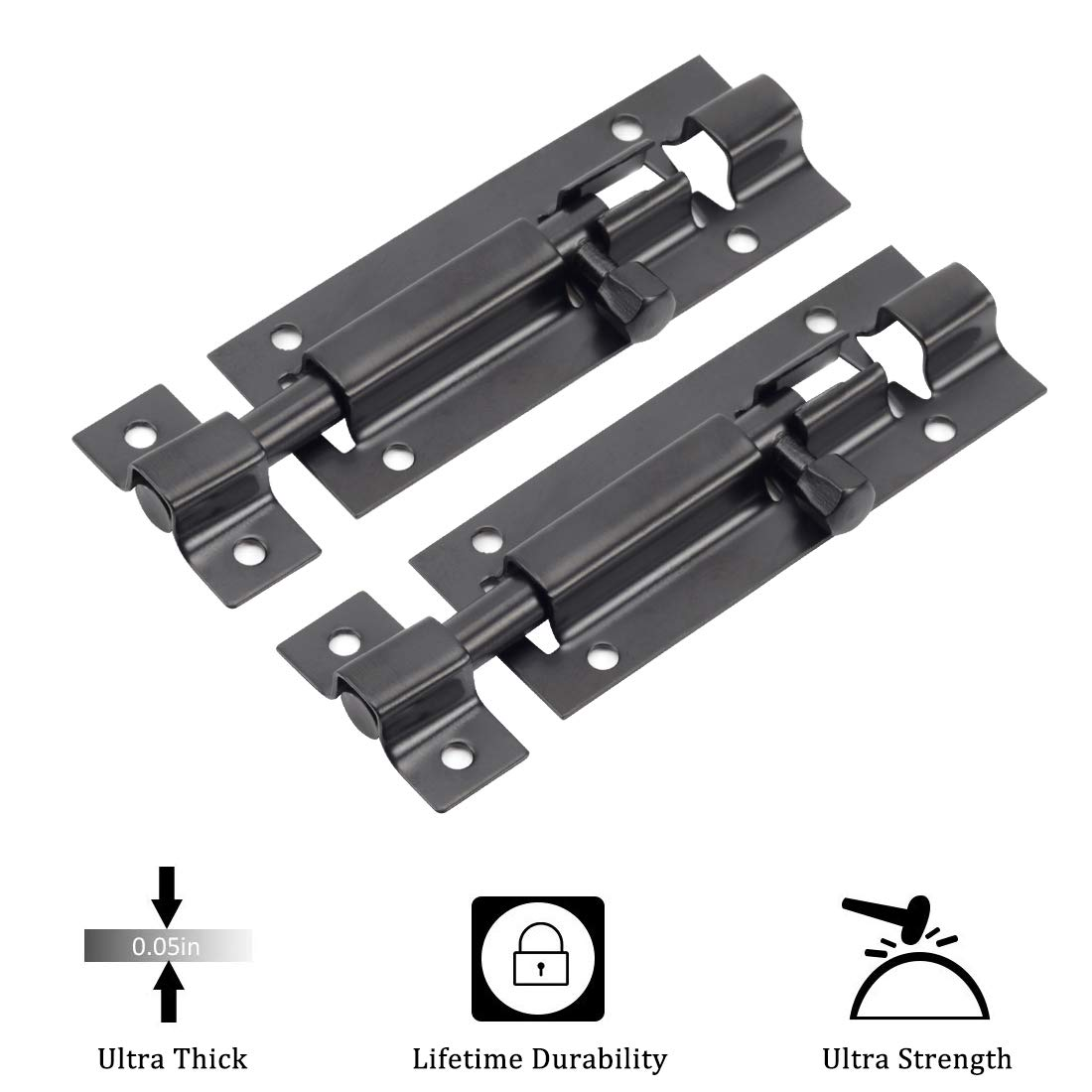 TPOHH 3 inch Door Window Security Black Slide Latch Lock with Solid Heavy Duty Stainless Steel to Keep You Safe and Private