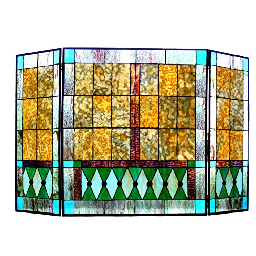Chloe Lighting Tiffany-Glass 3pcs Folding Mission Fireplace Screen 44