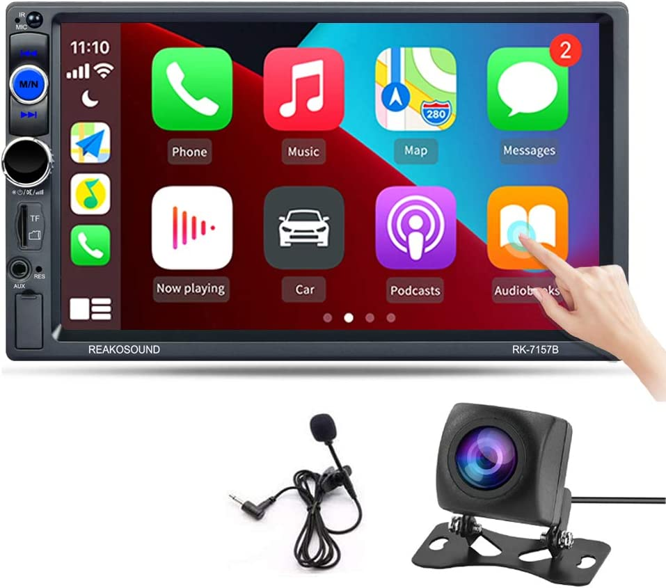 Hikity Car Stereo Double Din Carplay in-Dash Digital Media 2021 New 7 Inch Touchscreen Radio, Bluetooth FM Receiver, Mirror Link, SD AUX USB Input + Remote Control & AHD Backup Camera & Microphone