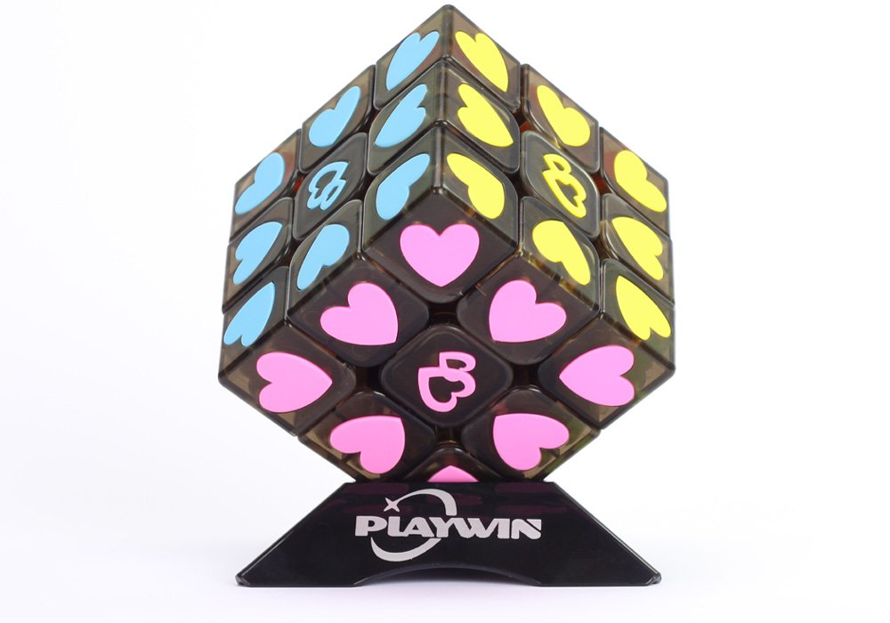 Playwin 3x3 Speed Cube Puzzle Without Stickers Sweet Love Magic Cube Romantic Magic (Black)