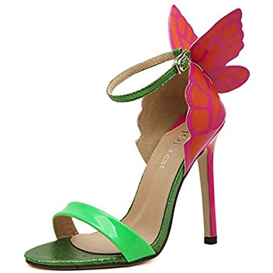 Donalworld Women Strap Butterfly Wings Pump High Heel Open Toe Princess  Ankle Sandals Green Asia Size