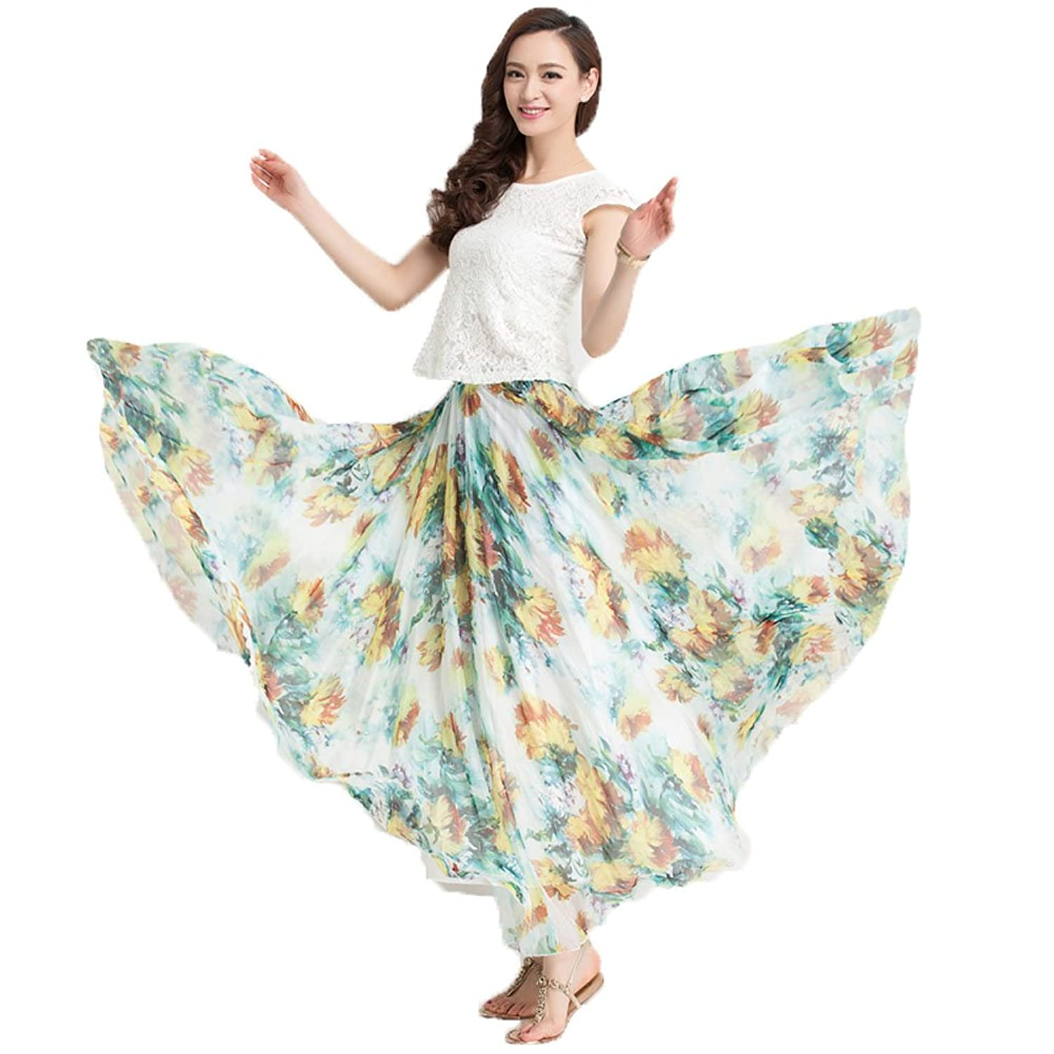 ONEWORLD Women New Style Gypsy Bohemian Full Maxi Long A-Line Chiffon Skirt