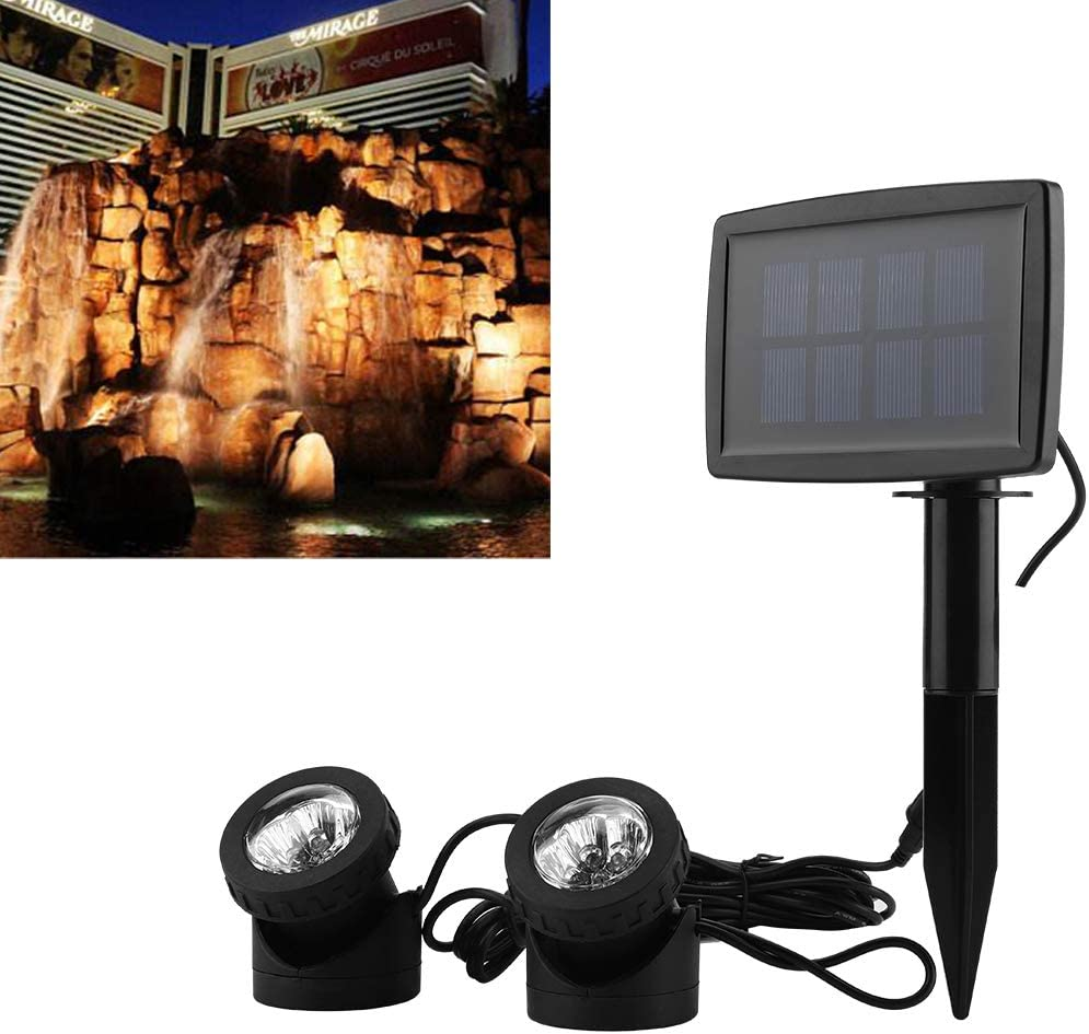 Luz solar para estanque, foco submarino LED para jardín, piscina, patio, paisaje, auto encendido/apagado | IP68 resistente al agua