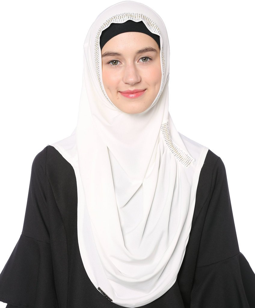 Ababalaya Women's Muslim Rhinestones Solid Jersey Headscarf Instant Hijab Ready to Wear Hijab,White