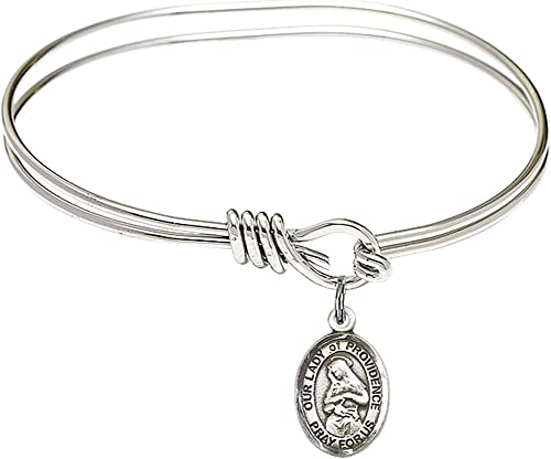 Bonyak Jewelry Round Eye Hook Bangle Bracelet w//Our Lady of Lebanon in Sterling Silver