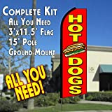Cheap HOT DOGS (Red) Flutter Feather Banner Flag Kit (Flag, Pole, & Ground Mt)