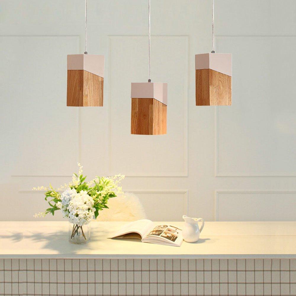 LED 5W Pendelleuchte E27 Esszimmerlampe Holz Hängeleuchte warmweiß (3 flammig)