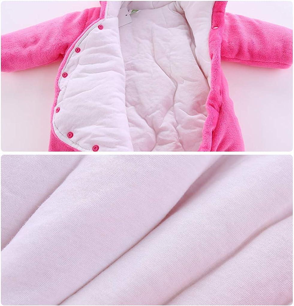 JiAmy Baby Winter Hooded Romper Fleece Snowsuit Jumpsuit Cartoon Outfits 0-12 Months
