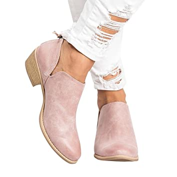 32d958dc63a Youngh Women's Boot Ankle Solid Leather Martin Shoes Med Heel ...