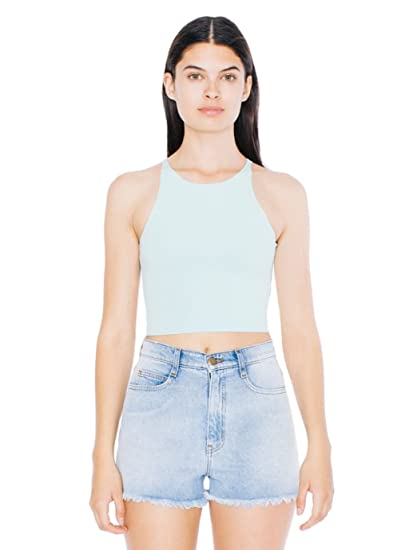 4921f8cf34e Amazon.com  American Apparel Women s Cotton Spandex Sleeveless Crop Top   Clothing