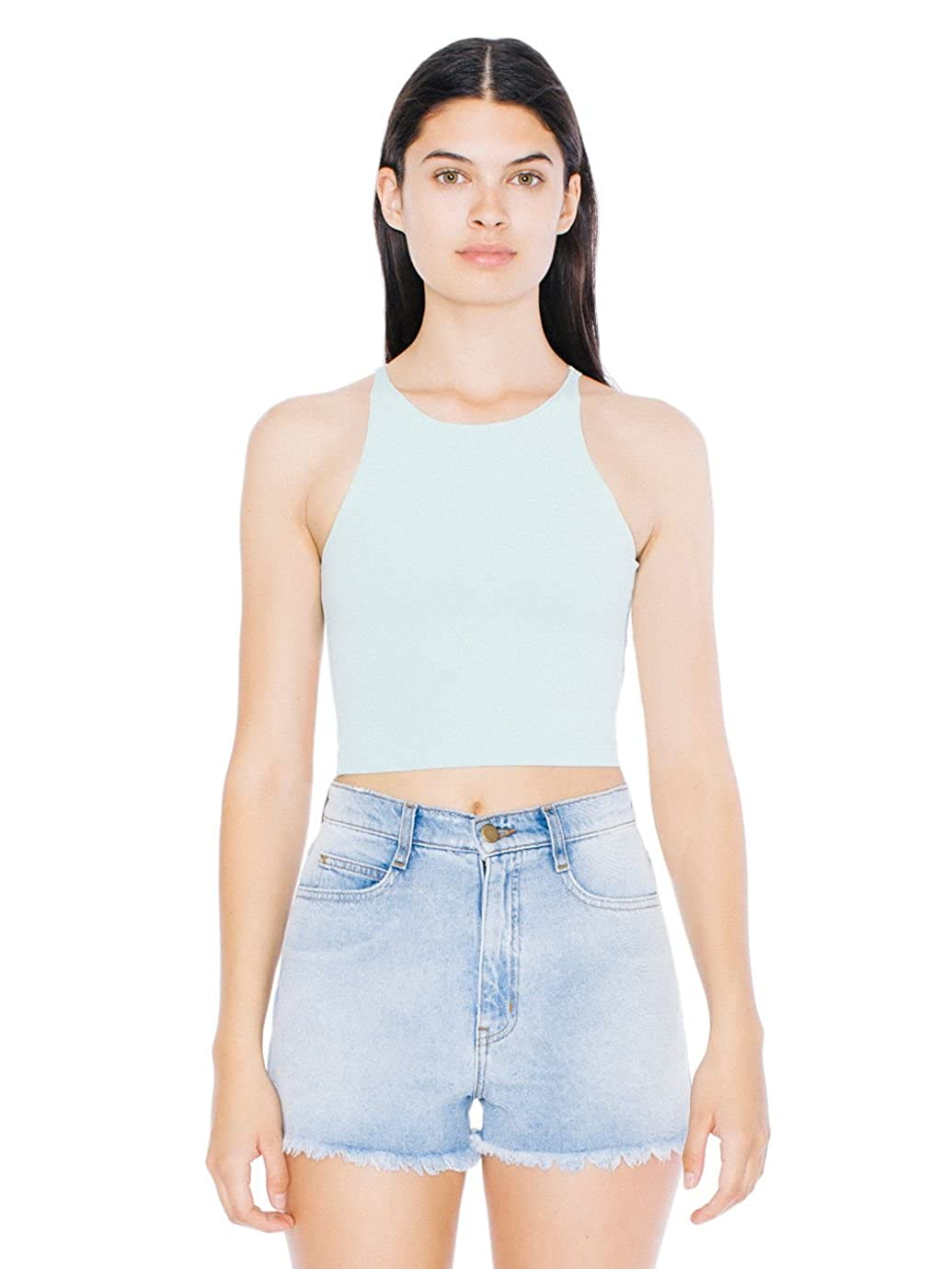 d9b0f77a3e7 Amazon.com: American Apparel Women's Cotton Spandex Sleeveless Crop Top:  Clothing
